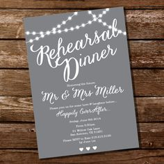 Gray Rehearsal Dinner Invitation - Instant Download and Edit with Adobe Reader on Etsy, $5.00