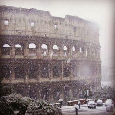 Rare snow in Rome, Feb. 3, 2012.