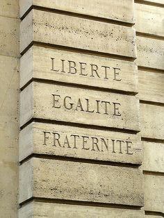 """Le Marais Quarter, """"Liberty, Equality, Fraternity"""", the national motto of France, Rue des Blancs-Manteaux, Paris IV"""