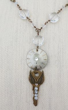 Steampunk Necklace of vintage watch face by TrinketsThroughTime
