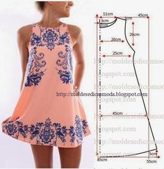 VESTIDO FÁCIL DE FAZER - 3 ~ Moldes Moda por Medida  cute way to use embroidery on a long Tank, Would be cute with leggins