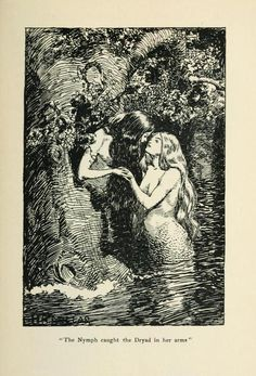 """""""The Nymph caught the Dryad in her arms."""" The New World Fairy Book """"The Nymph caught the Dryad in her arms."""" The New World Fairy Book Art And Illustration, Gravure Illustration, Illustrations, Art Inspo, Kunst Inspo, Fantasy Kunst, Fantasy Art, Art Lesbien, Bel Art"""