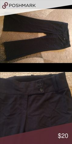 Delia collection black faint pinstripes 4 petite New woman's Delia collection wide leg black dress pants with very faint pinstripes in the material size 4 petite..Check out my other listing for women and kids time to part with some of my favorite things 😀 most just came out of storage bins hence the wrinkles on some items but if I had to iron them all I would never get to list them lol..all items will be pressed as they sell delia collection Pants Wide Leg