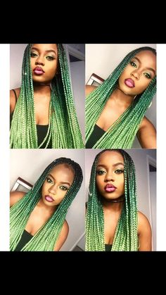 Green Ombre box Braids