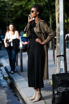 Le Fashion Blog Fall Style Sunglasses Long Trench Coat Black Sweater Culotte Pants Neutral Suede Ankle Boots Via Sandra Sembur