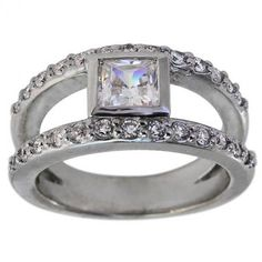 Modern Princess Cut Split Shank Diamond Engagement Mounting