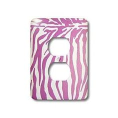 Patricia Sanders Photography-Pink Zebra Print- Light Switch Covers- 2 Plug Outlet Covers. <3