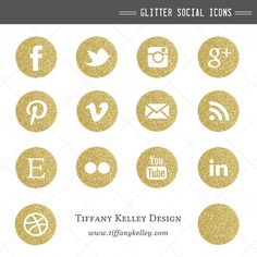 Gold Glitter Social Media Icons - Social Networking Buttons - Digital File Instant Download for Website and Blog Design $5.88