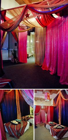 Lovely purple and pink tone drapes to create a lounge. Moroccan Theme, Pink Tone, Event Planning, Lounge, How To Plan, Purple, Create, Home Decor, Airport Lounge