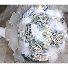 Brooch Bridal Bouquet Vintage Inspired Jeweled Bouquet in Silver, Grey... ($350) ❤ liked on Polyvore