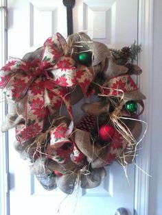 Christmas Burlap Wreath Holly leaves