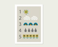 #1 Clouds and Raindrops Numbers 1 to 5 Wall Art Print, Modern Nursery Decor, Modern Kids Wall Art, Kids Room Art.