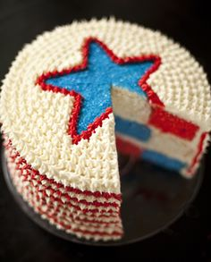 HOW TO: 4TH OF JULY RED, WHITE AND BLUE VELVET CAKE Red velvet cake has become an American favorite; add in blue and white layers, and you'll have a showstopping Fourth of July dessert.