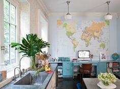 Kemble Interiors - Interior Designer - New York - Contemporary - Eclectic - Great Room - Kitchen - Map - Fresh - Bold - Blue Furniture - Shine - Sink - Windows - Lighting