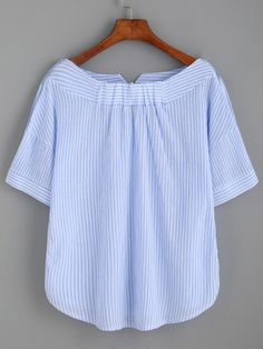 Striped Boat Neck Blouse With Buttons -SheIn(Sheinside)