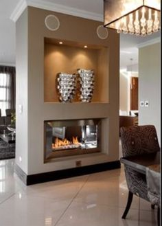 Two sided fireplace want for the home pinterest sliding barn doors stones and fireplaces for Double sided fireplace design