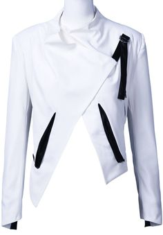 White Stand Collar Long Sleeve Crop Blazer » A little bit Captain Eo-esque, but still a cool blazer!