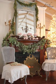 French Country Cottage - Love the pale pink, cream, gold & evergreen!