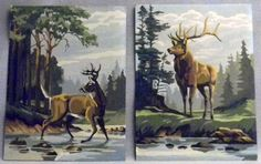 SOLD! Stag & Doe Unframed Paint By Number Set of Two
