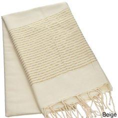 Authentic Fouta Natural Cotton Towel with Gold Lurex Stripes (Tunisia) | Overstock.com