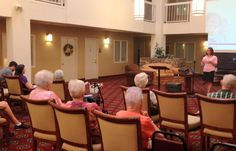 Audiologist Susie Fages and doctoral student Laura Davidson visited Dunwoody Pines retirement community to give a presentation on hearing loss and rehabilitation options. Members of the community attended to learn more about hearing healthcare, and what steps they can take to improve their communication abilities.