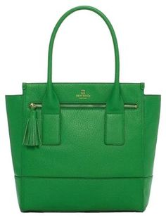 Kate Spade Leather Summer Tote in Kelly Green