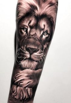 50 Eye-Catching Lion Tattoos That'll Make You Want To Get Inked - awesome black & gray lion tattoo © tattoo artist Samurai Standoff 💓💓💓💓💓 - Tiger Tattoo Small, Animal Sleeve Tattoo, Lion Tattoo Sleeves, Sleeve Tattoos For Women, Tattoos For Guys, Buddha Tattoos, Lion Forearm Tattoos, Lion Head Tattoos, Mens Lion Tattoo