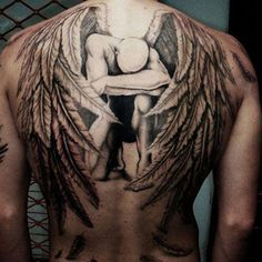 Guardian Angel Tattoo Designs Intended for Men And Women Back Piece Tattoo Men, Cool Back Tattoos, Neck Tattoo For Guys, Back Tattoo Women, Trendy Tattoos, Crazy Tattoos, Angel Back Tattoo, Guardian Angel Tattoo, Angel Tattoo Men