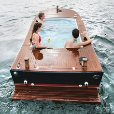Hot Tub Boat - A electric boat with a hot tub built into its deck. This boat is engineered and built in Seattle, WA by a marine carpenter that specializes in custom house boats.