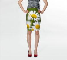 Daisy / Daisies Fitted Pencil Skirt - boho, summer, floral
