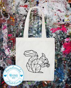 Jutebeutel - Jutebeutel ♥ Eckhörnchen ♥ Eichhörnchen ♥Geometrie - ein Designerstück von Liebe-und-Kraft bei DaWanda