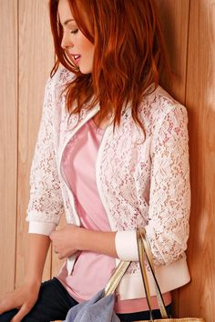 Lace) BomberJacket/Blazer with zippered front closure and ribbing on sleeve and waist band Fashion 2017, Look Fashion, Fashion Outfits, Womens Fashion, Pretty Outfits, Cool Outfits, Casual Outfits, Lingerie Look, Blazer Outfits