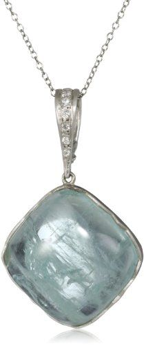 "$1,540 : Zaiken Jewelry ""Calligraphy Collection"" Aquamarine and Diamond Framed Pendant Necklace"