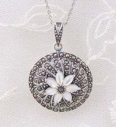 Round Pendant Necklace With Shell Flower And Marcasite 925 Sterling Silver New  #unbranded #Pendant