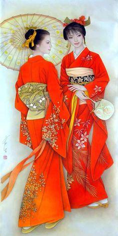 """Feng Chang Jiang: """"Beauties in Gorgeous Kimono"""" Japan Art Kimono Japan, Japanese Kimono, Japanese Art, Japanese Painting, Chinese Painting, Chinese Art, Geisha Kunst, Geisha Art, Art Asiatique"""