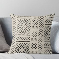 Super soft and durable 100% spun polyester Throw pillow with double-sided print. Cover and filled options. traditional African mud cloth line drawing Boho Throw Pillows, Designer Throw Pillows, Decorative Throw Pillows, Custom Pillows, Stencil, African Mud Cloth, Pillow Design, Floor Pillows, Wall Tapestry