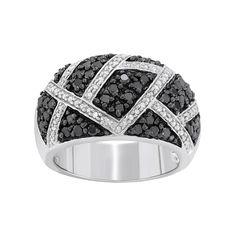 1 Carat T.W. Black and White Diamond Sterling Silver Geometric Ring, Women's, Size: 6