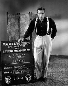 "theniftyfifties:  "" Marlon Brando's wardrobe test for 'A Streetcar Named Desire', 1951 Costume design by Lucinda Ballard.. """