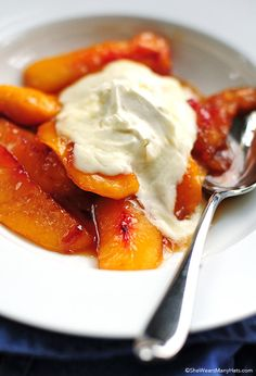 Fried Nectarines Recipe with Vanilla Mascarpone | http://shewearsmanyhats.com/fried-nectarines/