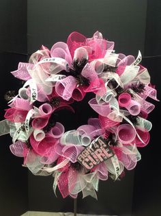 Breast Cancer Wreath by Diane