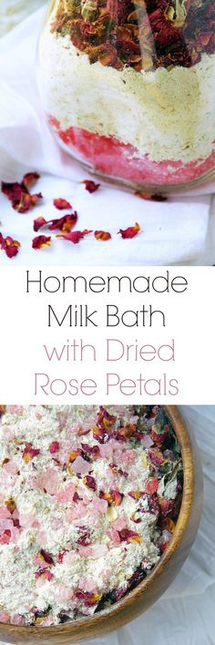 Homemade Milk Bath Recipe with Dried Red Rose Petals
