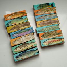14 Freshwater Fish Art Blocks, Fish Sticks Lake House Decor, Fishing Gifts for Men- Whole Mess of Fish Sticks- Freshwater Fish Art Block Set of 14 Christmas Gifts for Fisherman- Coastal Decor for Dad- Birthday Gift for Dad Fish Sticks, Fish Wall Decor, Fisherman Gifts, Josephine, Fish Illustration, Stick Art, Fish Print, Fishing Gifts, Art Series