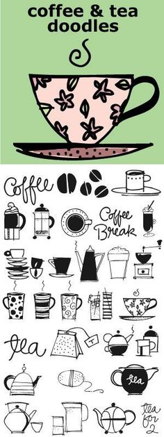 Coffee and Tea Doodles is a font of coffee and tea things-- perfect set of illustrations for coffee or tea shop menus, ads, invitations, etc. http://www.outside-the-line.com/shop/coffee-tea-doodles/: