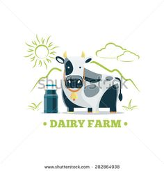 Fresh natural milk eco farm logo with cow. Food nature organic drink, cattle and animal. Vector illustration