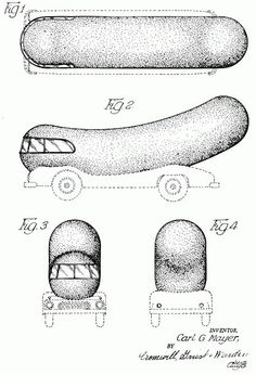 Oscar Mayer Wienermobile Patent Drawing -- The original Wienermobile was introduced in 1936. In the '50s five Wienermobile designs were introduced, this being one of them. The patent was filed in 1952 and issued in 1954. Invented by Carl G. Mayer.