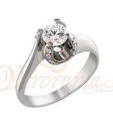 Μονόπετρo δαχτυλίδι Κ18 λευκόχρυσο με διαμάντι κοπής brilliant - MBR_092