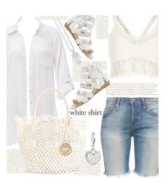 """white shirt"" by shoalehnia ❤ liked on Polyvore featuring Beauty & The Beach, NSF, Fergie, River Island, Twin-Set and Thomas Sabo"