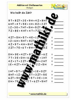 Addition mit Stellenwerten bis 1 Mio - www.mathiki.de - Ihre Matheseite im Internet #math #addition #arbeitsblatt #worksheet