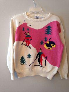 9f8e4a85858 Artículos similares a Vintage años 80 novedad Ski impresión suéter con  nieve