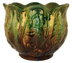 McCoy Pottery Blended Majolica Glaze Iris Jardiniere